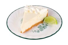 Key lime pie. Isolated image of key lime pie Royalty Free Stock Photo