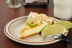 Key lime pie. A slice of key lime pie with a glass of milk Royalty Free Stock Images
