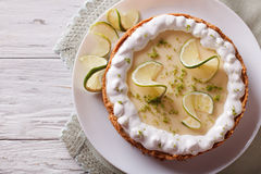 Key lime pie with whipped cream. Horizontal top view Stock Photography