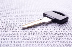 Key is on the list with a binary code Stock Photography
