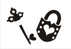 Key and lock. Black key and lock with heart shapes on a white background Stock Photo