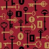 Key-Lock de esqueleto Pattern_Red ilustração stock