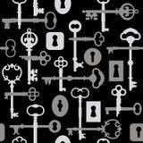 Key-Lock di scheletro Pattern_Gray Fotografia Stock Libera da Diritti