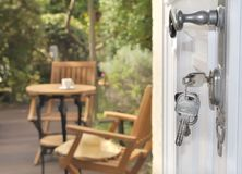 Key lock of a door Royalty Free Stock Photo
