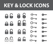 Key And Lock Icons. Black keys and locks. Icons set. Vector collection keys and locks Stock Photos