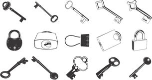Key and Lock Illustration Set Stock Images
