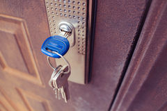 The key in the lock of the iron door. Stock Image