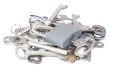 Key lock with many different keys Royalty Free Stock Photo