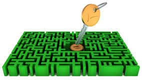 Key, lock, maze Royalty Free Stock Photo