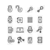 Key, lock, padlock, safe, door, security thin line vector icons Royalty Free Stock Photos