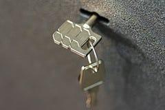 Key in Lock Safety Deposit Box Royalty Free Stock Photography