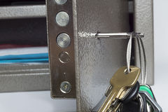 Key in Lock Safety Deposit Box Stock Photography