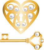 Key and lock shaped heart Stock Photos