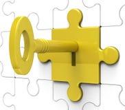 Key In Lock Shows Hidden Secrets Stock Images