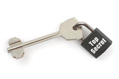 Key and lock Top Secret. Isolated on white background stock image