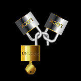 Key lock and unlock gold-silver Stock Photography