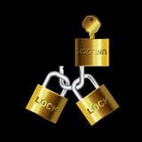 Key lock and unlock gold-silver Stock Image