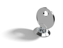 Key in Lock. A key in the lock on white background with clipping path Royalty Free Stock Photos