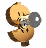 Key locked dollar symbol. 3d illustration of key locked dollar symbol Stock Photos