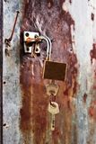 Key locked on grunge zinc plate Stock Photos