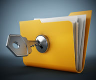 Key on locked yellow folder. 3D illustration Royalty Free Stock Photos