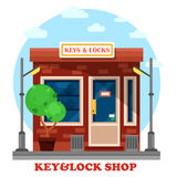 Key and locks local shop or store royalty free illustration