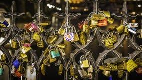 Key Locks of Love. Prague, Czech - March 12, 2017: Key locks of love on fence near Charles Bridge in Prague, Czech Stock Image