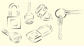 Key and log vector graphic Stock Photos