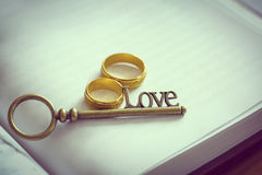 Key love and engagement ring Royalty Free Stock Image