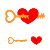 Key and love. Key to heart. Red love with lock hole. Key lock fr Stock Photo