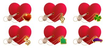 Key love is to open heart shaped lock. Valentines day heart symbol love. Isolated on white set vector icon illustration Royalty Free Stock Photography