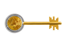 Key made of euro coin Royalty Free Stock Photo