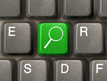 Key with magnifier. Computer keyboard, key with magnifier, close-up Royalty Free Stock Photos