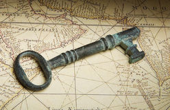 Key on map Royalty Free Stock Images