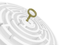 Key For Maze. 3D rendered radial maze and the key with DOF Royalty Free Stock Image