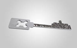 The key is a maze, on a gray gradient background. Royalty Free Stock Photo