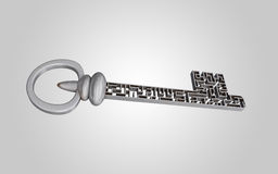 The key is a maze, on a gray gradient background. Royalty Free Stock Photos