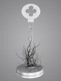 The key is a maze, With roots from the keyhole. Stock Photos