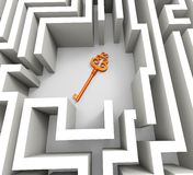 Key In Maze Shows Security Solution Royalty Free Stock Image