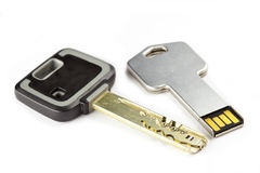 Key mechanical, crack-resistant, with high extent of protection, and a key electronic with a microchip.  Stock Photos