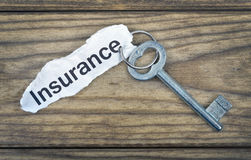 Key with message Insurance. On wooden table Stock Images
