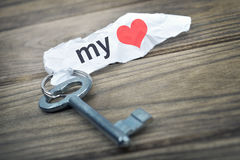 Key with message my Love Royalty Free Stock Photo