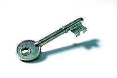 Key. Metal key on white background Stock Images