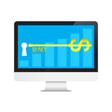 Key of Money Dollars in desktop computer Royalty Free Stock Photography