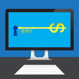 Key of Money Dollars online on desktop computer Stock Photo