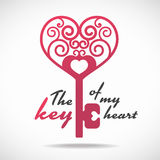 The key of my heart (pink heart key) vector design Royalty Free Stock Photos