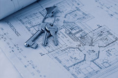 Key for the new home. Keys on blueprint Stock Images