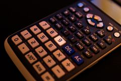 Key number nine of the keyboard of a scientific calculator stock photo