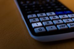 Key number one from the keyboard of a scientific calculator royalty free stock photo