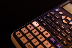Key number seven of the keyboard of a scientific calculator stock images